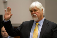 IMAGE: PAUL WATSON, Founder of the Sea Shepherd Conservation Society, testifies in the United States Court of Appeals, Ninth Circuit in Seattle, Washington